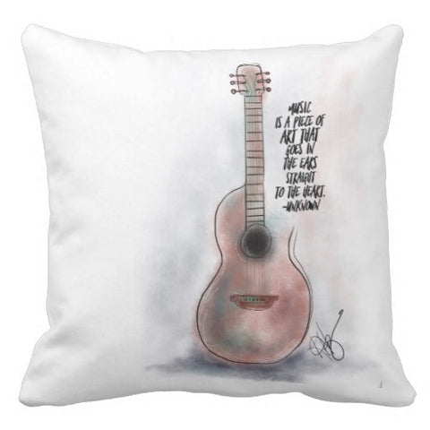 "Pillow, ""Music is a Piece of Art..."" Design - Blushing Willow Design Co."