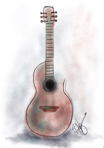 "Digital Printable Art, ""Faded Guitar"" Design - Blushing Willow Design Co."