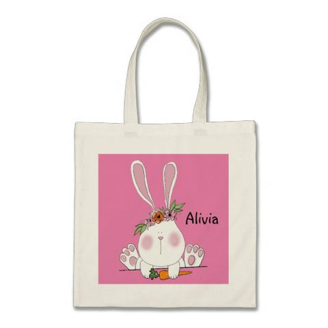 Tote, Cotton, Personalized Easter Bunny Design Pink - Blushing Willow Design Co.