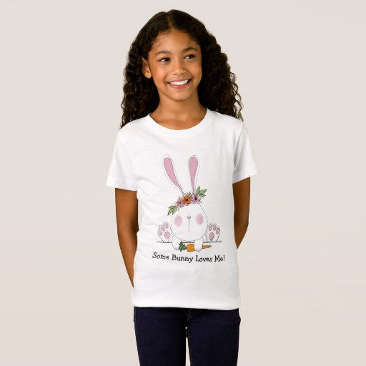 T-Shirt, Girl's Some Bunny Loves Me - Blushing Willow Design Co.