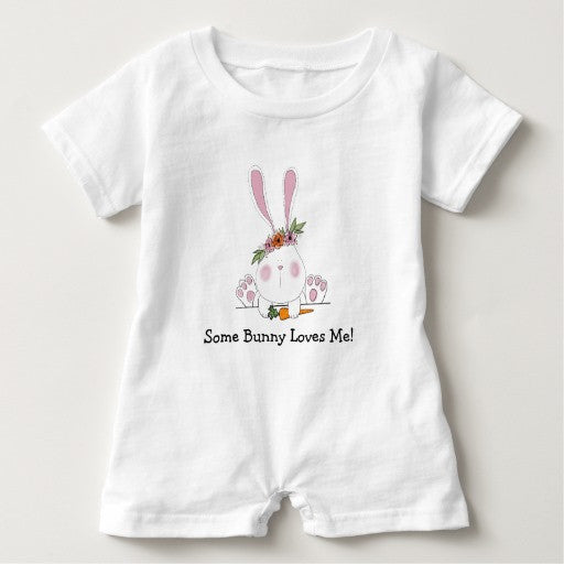 Romper,  Some Bunny Loves Me - Blushing Willow Design Co.