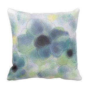 Pillow, Billowing Blue Floral Square Design - Blushing Willow Design Co.