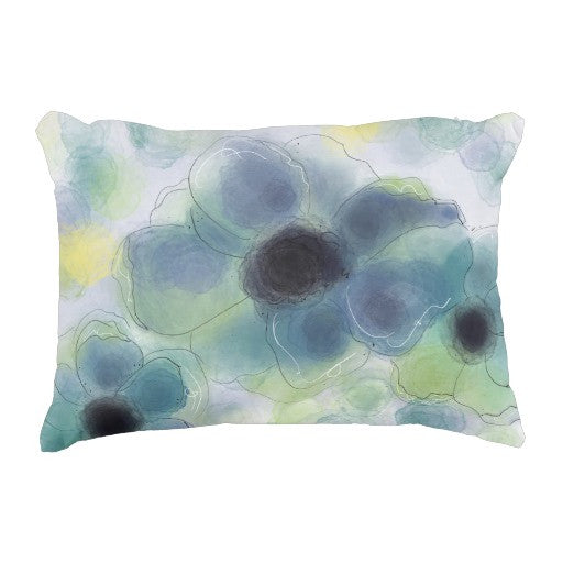 Pillow, Billowing Blue Floral Design - Blushing Willow Design Co.