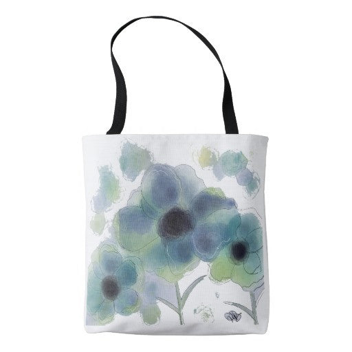 Tote Bag, Billowy Blue Floral Design - Blushing Willow Design Co.