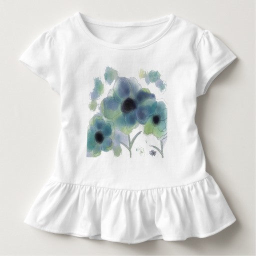 Toddler Ruffled Tee with Billowing Blue Floral Design - Blushing Willow Design Co.