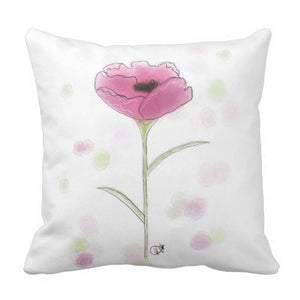 Pillow, Pink Poppy Square Design - Blushing Willow Design Co.