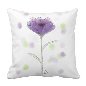 Pillow, Purple Poppy Square Design - Blushing Willow Design Co.