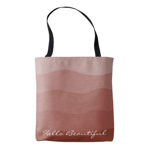"Tote Bag, Ombre' Desert ""Hello Beautiful"" Design - Blushing Willow Design Co."