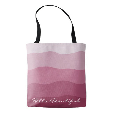 "Tote Bag, Ombre' Raspberry ""Hello Beautiful"" Design - Blushing Willow Design Co."