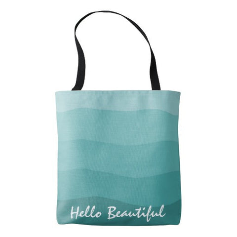 "Tote Bag, Ombre' Seascape ""Hello Beautiful"" Design - Blushing Willow Design Co."
