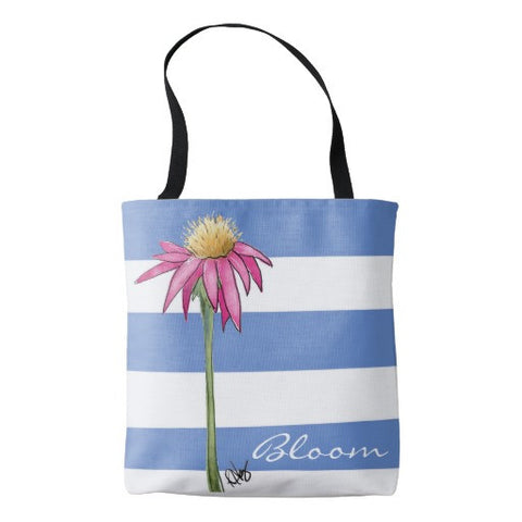 "Tote Bag, ""Bloom"" with Stripes Design - Blushing Willow Design Co."