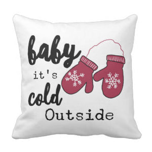 "Pillow, ""Baby It's Cold Outside"" Mittens Design - Blushing Willow Design Co."