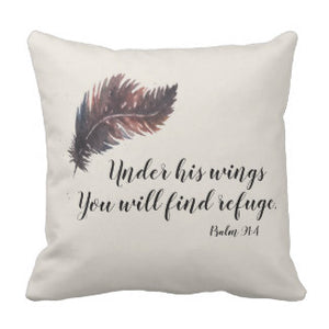 "Pillow, ""Under His Wings You Will Find Refuge"" Design - Blushing Willow Design Co."