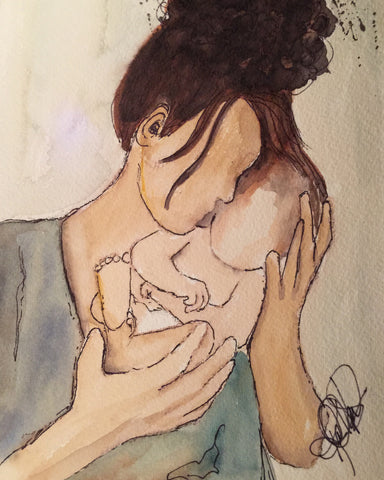 "Watercolor, Limited-Edition, Signed, Matted Prints, ""Hands Full of Love"" - Blushing Willow Design Co."