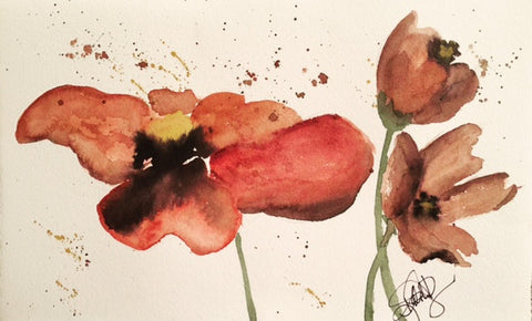 "Watercolor, Limited-Edition, Signed, Matted Prints, ""Sienna Poppies"" - Blushing Willow Design Co."