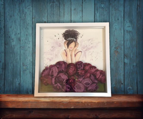 Watercolor, Original Blossom Beauty, Silk Roses, Purple in Shadow Box - Blushing Willow Design Co.