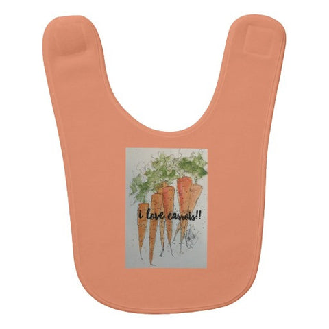 "Bib, ""I Love Carrots"" Watercolor Design - Blushing Willow Design Co."