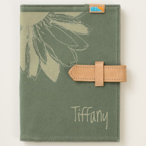 Journal, Canvas, Green with Sunflower, Personalized with Name - Blushing Willow Design Co.