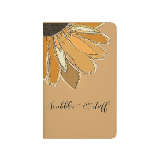 Pocket Journal, Yellow Sunflower, Scribbles & Stuff - Blushing Willow Design Co.