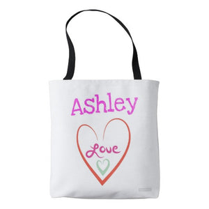"Tote Bag, Across the Body, ""Personalized Heart/Love"" Design - Blushing Willow Design Co."