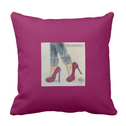 "Pillow, ""Denim & Heels"", Watercolor Design - Blushing Willow Design Co."