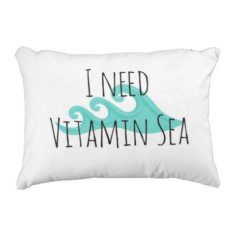 "Pillow, ""I Need Vitamin Sea"" Design - Blushing Willow Design Co."