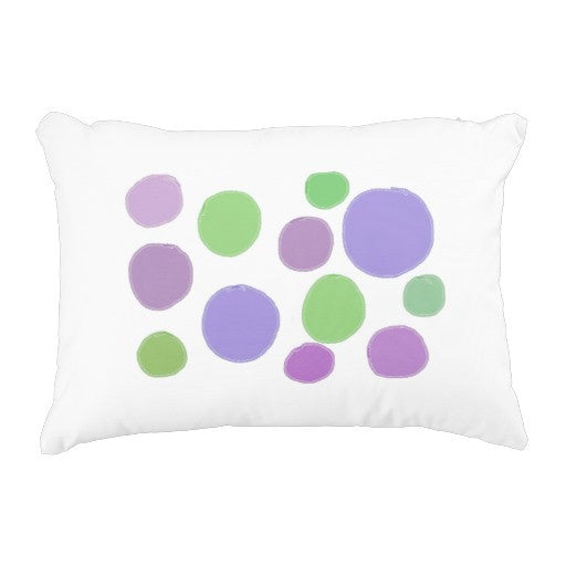Pillow, Purple & Green Polka Dots Design - Blushing Willow Design Co.
