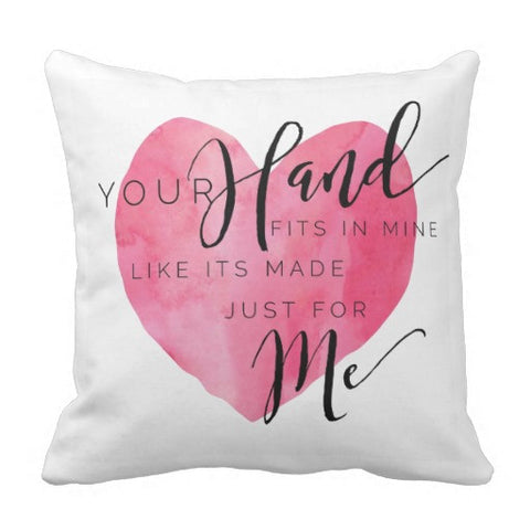 "Pillow, ""Your Hand Fits in Mine"" Design - Blushing Willow Design Co."