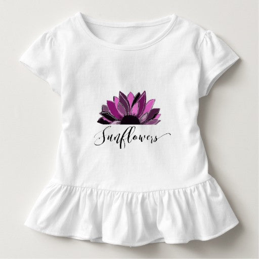 Toddler Ruffled Tee with Purple Sunflower Design - Blushing Willow Design Co.