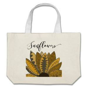 "Tote, Cotton, Jumbo ""Gold Whimsy Sunflower"" Design - Blushing Willow Design Co."