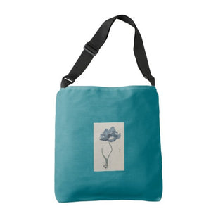"Tote Bag, Across the Body, ""Blue Poppy"" Design - Blushing Willow Design Co."