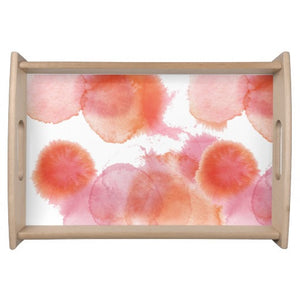 Serving Tray, Watercolor Splash, Crimson & Tangerine - Blushing Willow Design Co.