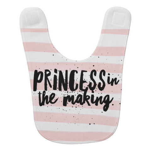 "Bib, ""Princess in the Making"" Pink/White Striped Design - Blushing Willow Design Co."