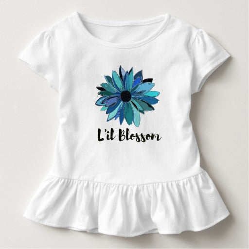 Toddler Ruffled Tee with Blue Sunflower Design - Blushing Willow Design Co.