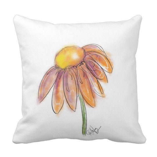 Pillow, Orange Daisy Design - Blushing Willow Design Co.