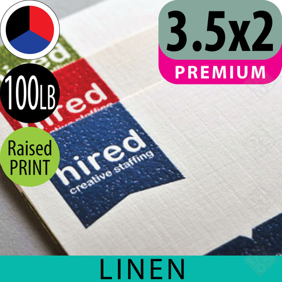 100lb Linen Business Cards, Raised Spot Color (Thermography )