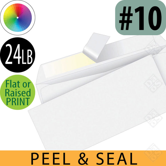 Peel and Seal Stationery Envelopes, Flat or Raised Full Color Imprint