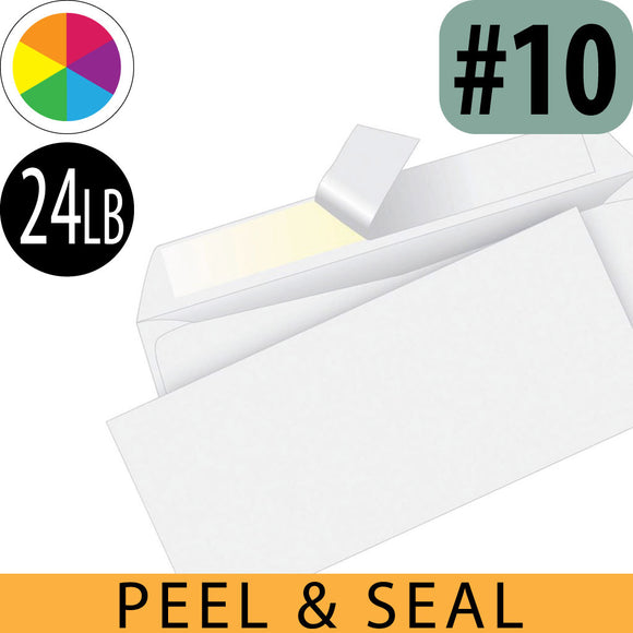 Peel and Seal Business Envelopes, Flat Spot Color Imprint