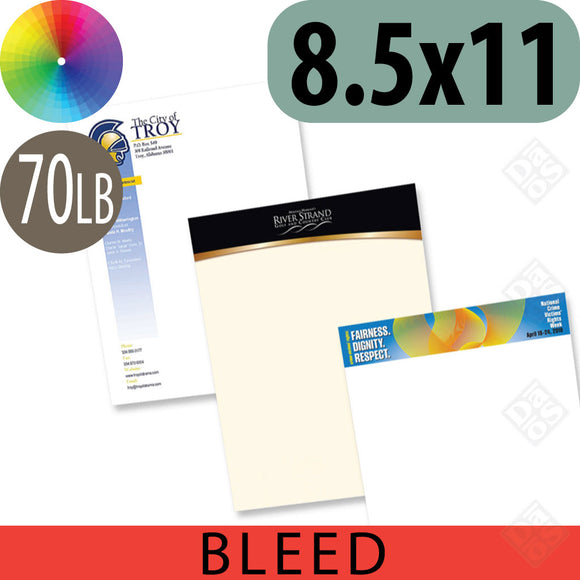 70lb Letterhead, Falt or Raised Full Color with Bleed