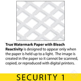 True Watermark Paper with Bleach Reactivity