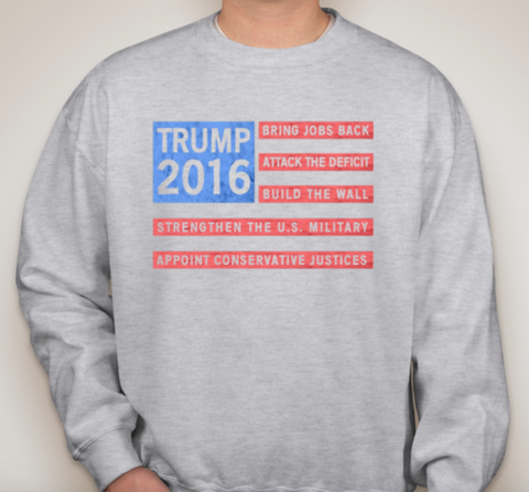 FLAG CREWNECK SWEATSHIRT-TRUMP 2016