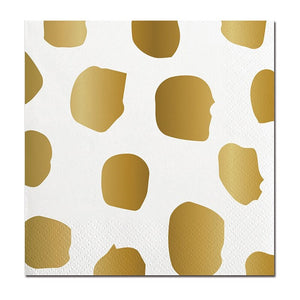 Beverage Napkin Gold Dot and Stripe