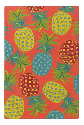 Pineapples 2x3 Coral Welcome Mat