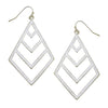 Susan Shaw - Silver Chevron Cut Out Earrings