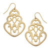 Susan Shaw -  Gold Teardrop Cut Out Earrings