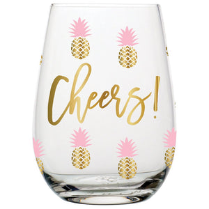 Stemless Wineglass -  Cheers Pineapples