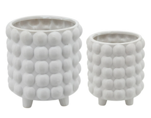 Set of 2 Bubble Planters Ceramic White