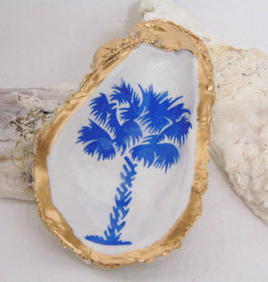 Oyster Shell Jewelry Bowl - Blue Palm Tree
