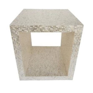 Wood Open Square Side table with capiz