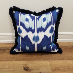 Blue Ikat Decorative Throw Pillow